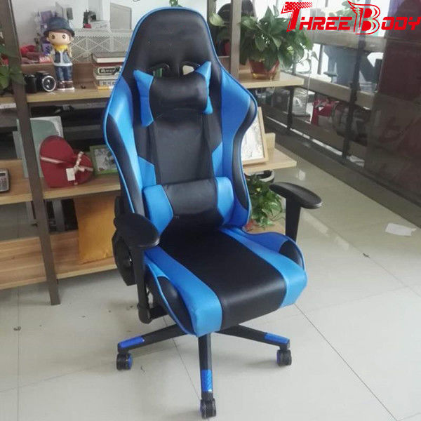 Ergonomic  Racing Seat Gaming Chair Black And Blue Lumbar Support System