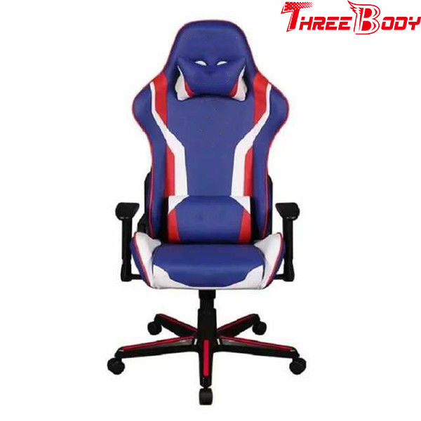 Mobile Comfortable Computer Gaming Chair , Blue PU Leather Racing Seat Desk Chair