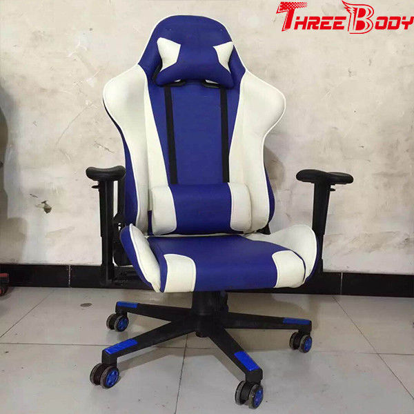 Video Game High Back Gaming Chair White And Blue 350lbs Large Load Capacity